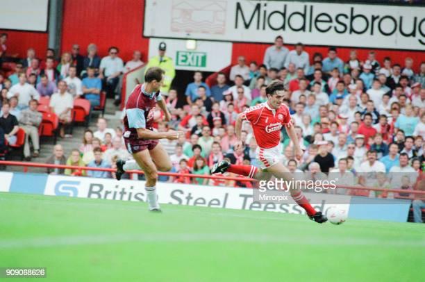 Middlesbrough 0-0 West Ham, Division Two league match at Ayresome Park, Saturday 25th August 1990. Bernie Slaven.