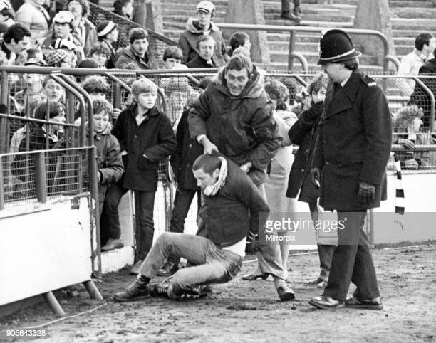 Middlesbrough 1 1 Newcastle Second Division match held at Ayresome Park Newcastle United fan Steven Robinson is pictured struggling with Police...
