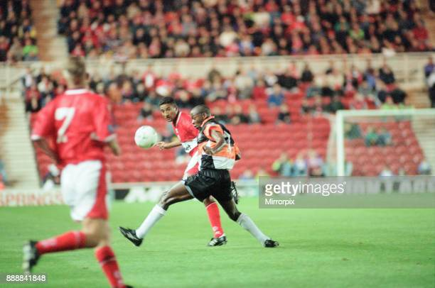 Middlesbrough 1-0 Barnet, League Cup match at the Riverside Stadium, Tuesday 16th September 1997. Chris Freestone scorer of the winning goal, in...