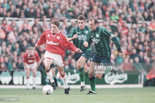 Middlesbrough 1-1 Leeds, Premier league match at the Riverside Stadium, Saturday 4th November 1995. Juninho Paulista, Brazilian attacking midfielder,...