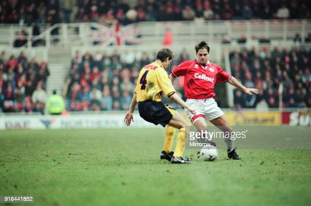 Middlesbrough 11 Premiership match at the Riverside Stadium Saturday 16th March 1996 John Hendrie gets the better of Colin Cooper