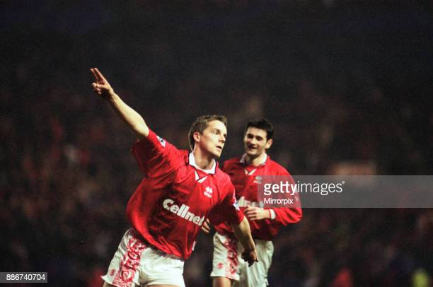 Middlesbrough 3- 2 Hednesford Town, FA Cup 4th round match held at the Riverside Stadium. Jan-Aage Fjortoft, 25th January 1997.