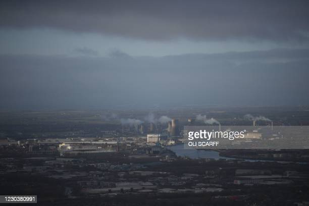 Middlesbrough and the River Tees are seen in the distance from Eston Nab, in the town of Eston, northeast England, on January 1, 2021. - Britain on...