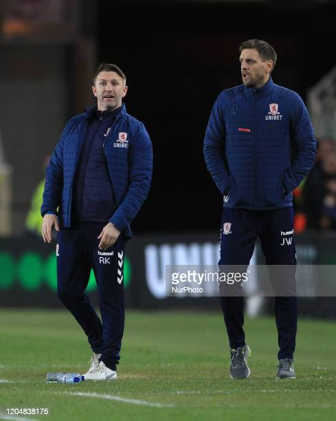 Middlesbrough Assistant Head Coach Robbie Keane and Head Coach Jonathan Woodgate during the Sky Bet Championship match between Middlesbrough and...