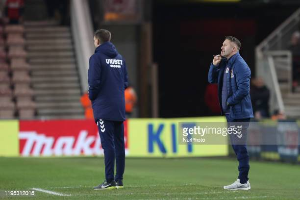 Middlesbrough Assistant Head Coach Robbie Keane during the Sky Bet Championship match between Middlesbrough and Birmingham City at the Riverside...