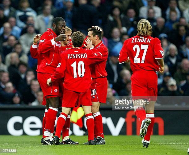 Middlesbrough celebrate scoring during the FA Barclaycard Premiership match between Manchester City and Middlesbrough at The City of Manchester...
