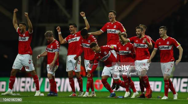 Middlesbrough celebrate their win over Preston North End on penalties during the Carabao Cup Third Round match between Preston North End and...
