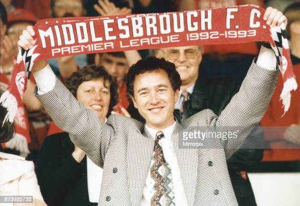 Middlesbrough chairman Steve Gibson celebrates promotion to the Premier League May 1993