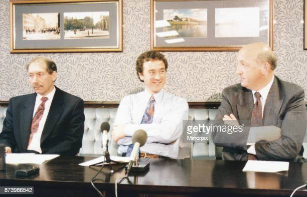 Middlesbrough chairman Steve Gibson, director George Cook and chief executive Keith Lamb at a press conference announcing the sacking of manager...