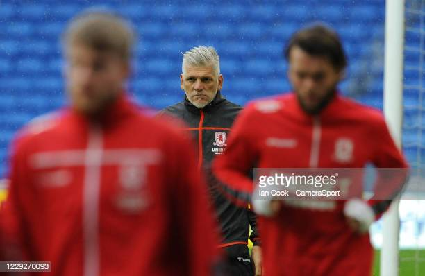 Middlesbrough coach Leo Percovich during the prematch warmup during the Sky Bet Championship match between Cardiff City and Middlesbrough at Cardiff...