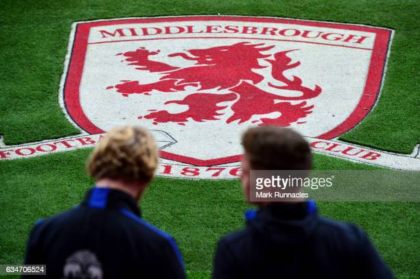 Middlesbrough crest is seen prior to the Premier League match between Middlesbrough and Everton at Riverside Stadium on February 11 2017 in...