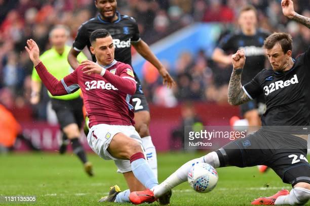Middlesbrough defender Aden Flint blocks a shot from Anwar El Ghazi of Aston Villa during the Sky Bet Championship match between Aston Villa and...