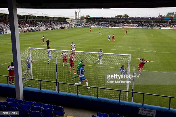 Middlesbrough defender Ben Gibson is thwarted by a lastditch tackle at the Victoria Ground Hartlepool during a preseason friendly between his team...