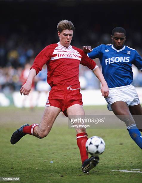 Middlesbrough defender Gary Pallister in action during a League division two match between Ipswich Town and Middlesbrough at Portman Road on April...
