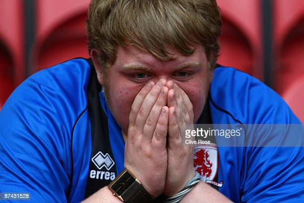 Middlesbrough fan reacts after the final whistle of the Barclays Premier League match between Middlesbrough and Aston Villa at the Riverside Stadium...