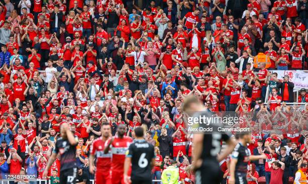 Middlesbrough fans celebrate after the final whistle during the Sky Bet Championship match between Middlesbrough and Bristol City at Riverside...