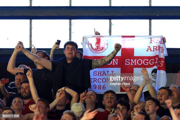 Middlesbrough fans celebrate at the end of the match during the Sky Bet Championship match between Ipswich Town and Middlesbrough at Portman Road on...