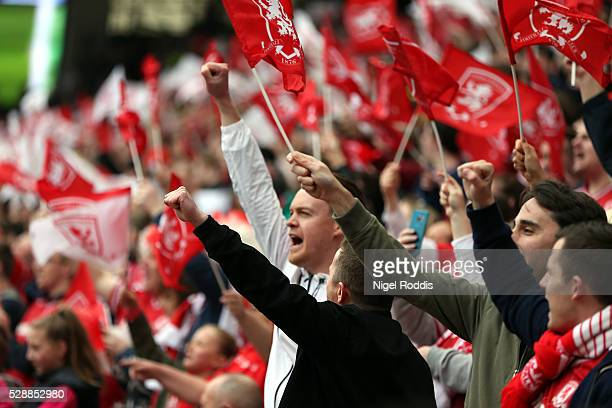 Middlesbrough fans cheer during the Sky Bet Championship match between Middlesbrough and Brighton and Hove Albion at the Riverside Stadium on May 07...
