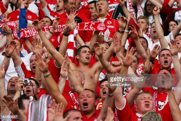 Middlesbrough fans support their team prior to the UEFA Cup final between Middlesbrough FC and Sevilla FC on May 10, 2006 at the PSV Stadion in...