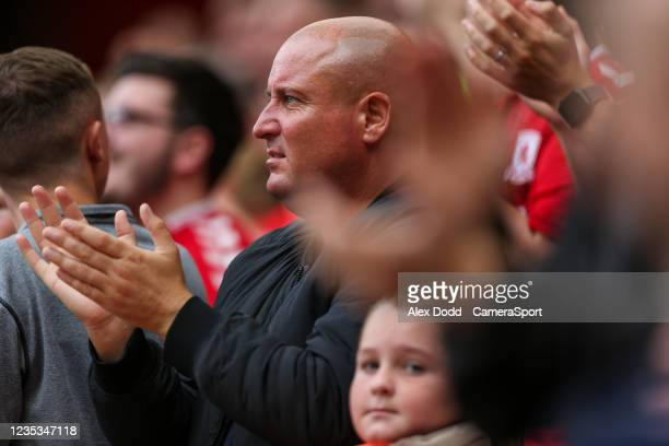 Middlesbrough fans watch on during the Sky Bet Championship match between Middlesbrough and Blackpool at Riverside Stadium on September 18, 2021 in...