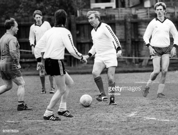 Middlesbrough FC chairman Alf Duffield playing football at Dormans Club Middlesbrough 12th May 1985
