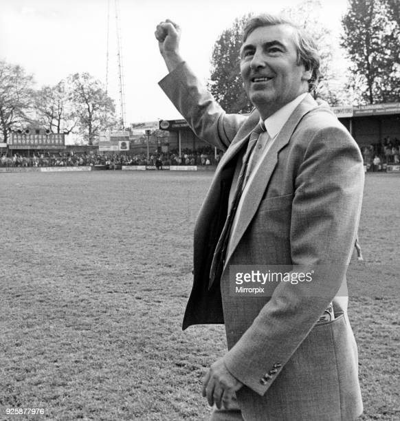 Middlesbrough FC chairman Alf Duffield punching the air with his fist Shrewsbury Town 0 v Middlesbrough 2 League Division Two 11th May 1985