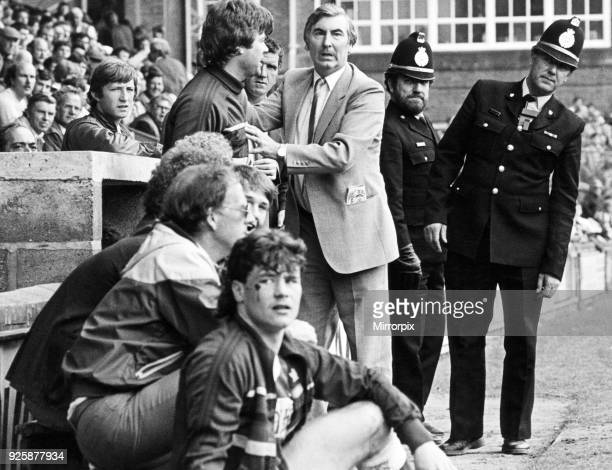 Middlesbrough FC chairman Alf Duffield. Tensions mount in the Boro dugout. Alf Duffield puts a restraining hand on Physio Steve Smelt, incensed at...