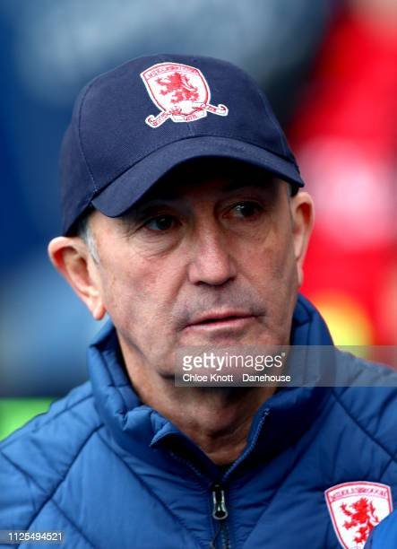 Middlesbrough FC manager Tony Pulis during the Sky Bet Championship match between Blackburn Rovers and Middlesbrough FC at Ewood Park on February 17...