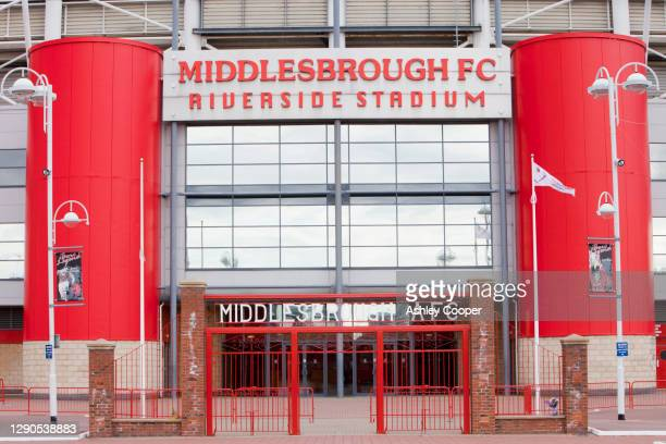 middlesbrough football club's riverside stadium, teeside, uk. - club football stockfoto's en -beelden