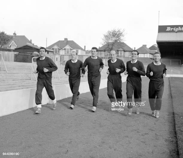 Middlesbrough Football Players in team training session 28th October 1959 William Willie Fernie on LEFT