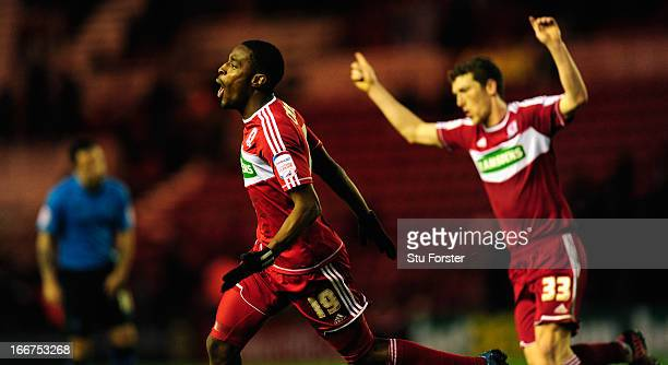 Middlesbrough forward Mustapha Carayol celebrates scoring the opening goal during the npower Championship match between Middlesbrough and Nottingham...