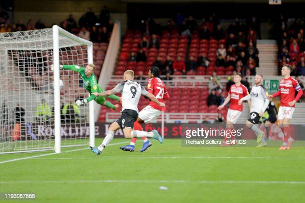 Middlesbrough goalkeeper Aynsley Pears fails to stop the Derby goal going in Middlesbrough v Derby Sky Bet Championship Riverside Stadium