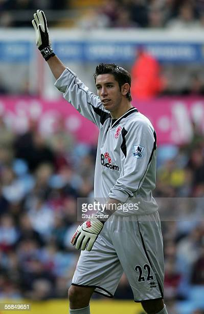 Middlesbrough goalkeeper Brad Jones organises his defenders during the Barclays Premiership match between Aston Villa and Middlesbrough at Villa Park...
