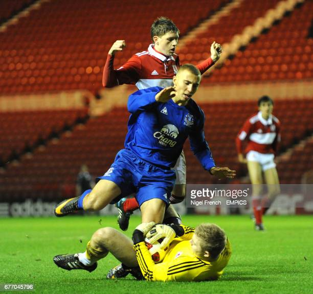 Middlesbrough goalkeeper Connor Ripley saves at the feet of Everton's Hallam Hope