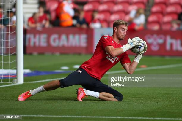 Middlesbrough Goalkeeper Joe Lumley makes a save during the warm up during the Sky Bet Championship match between Middlesbrough and Blackpool at the...