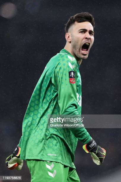 Middlesbrough goalkeeper Tomas Mejias celebrates their goal during the FA Cup Third Round Replay match between Tottenham Hotspur and Middlesbrough at...