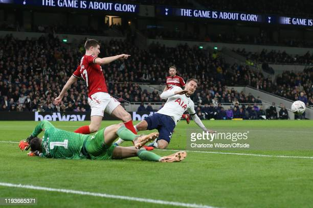 Middlesbrough goalkeeper Tomas Mejias spreads himself at the feet of Christian Eriksen of Tottenham to make a close save during the FA Cup Third...