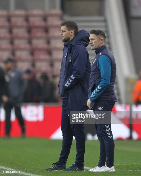 Middlesbrough Head Coach Jonathan Woodgate and Assistant Head Coach Robbie Keane during the Sky Bet Championship match between Middlesbrough and Hull...