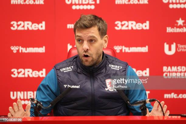 Middlesbrough Head Coach Jonathan Woodgate speaks to the press after the Sky Bet Championship match between Middlesbrough and Nottingham Forest at...