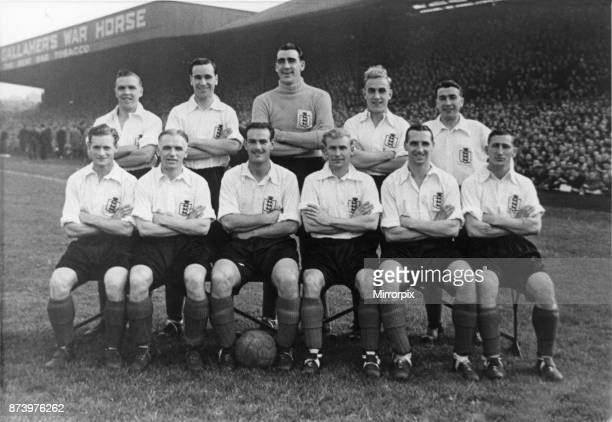 Middlesbrough legends George Hardwick and Wilf Mannion line up with the England team. Circa 1948.
