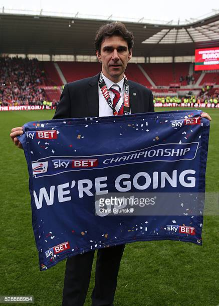 Middlesbrough manager Aitor Karanka celebrates following the Sky Bet Championship match between Middlesbrough and Brighton and Hove Albion at the...