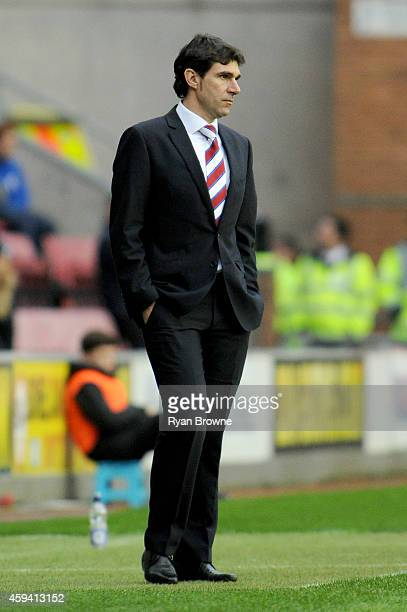 Middlesbrough manager Aitor Karanka looks on during the Sky Bet Championship match between Wigan Athletic and Middlesbrough at DW Stadium on November...