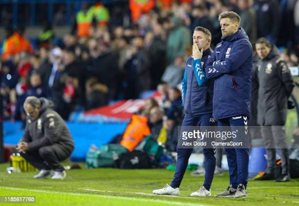 Middlesbrough manager Jonathan Woodgate and assistant Robbie Keane watch on during the Sky Bet Championship match between Leeds United and...