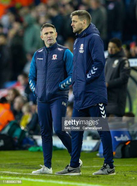 Middlesbrough manager Jonathan Woodgate and assistant Robbie Keane watch on in the second half during the Sky Bet Championship match between Leeds...