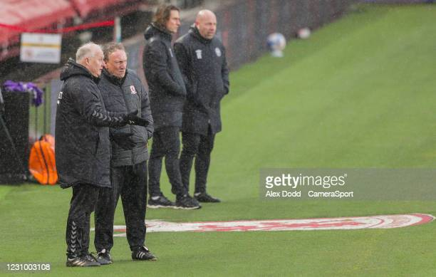 Middlesbrough manager Neil Warnock and assistant Kevin Blackwell watch on during the first half during the Sky Bet Championship match between...