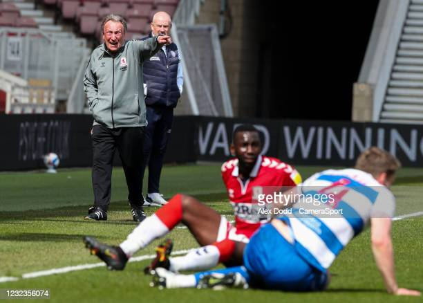Middlesbrough manager Neil Warnock appeals for a free kick during the Sky Bet Championship match between Middlesbrough and Queens Park Rangers at...