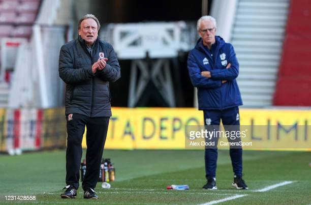 Middlesbrough manager Neil Warnock encourages his team during the Sky Bet Championship match between Middlesbrough and Cardiff City at Riverside...