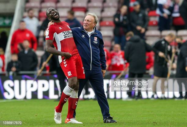 Middlesbrough manager Neil Warnock hugs Sol Bamba after the match during the Sky Bet Championship match between Middlesbrough and Peterborough United...