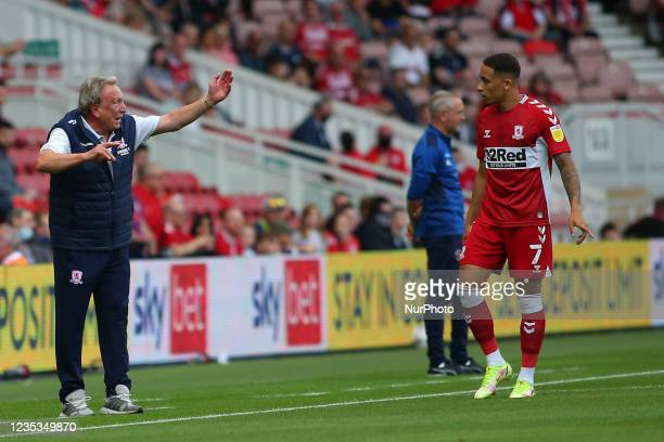 Middlesbrough Manager Neil Warnock issues instructions to Middlesbrough's Marcus Tavernier during the Sky Bet Championship match between...