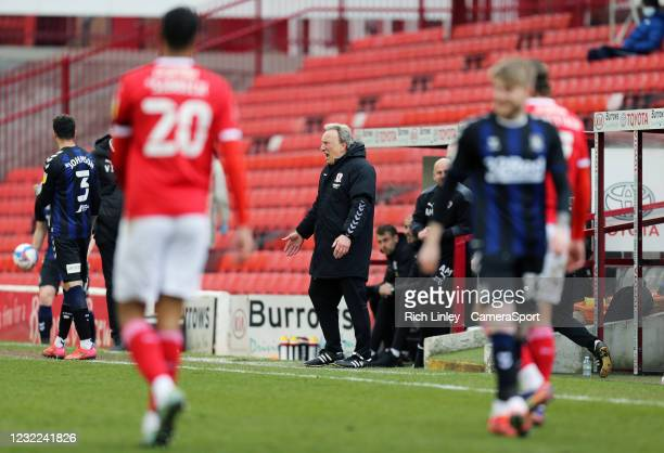 Middlesbrough manager Neil Warnock reacts during the Sky Bet Championship match between Barnsley and Middlesbrough at Oakwell Stadium on April 10,...